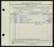 Entry card for Young, Edith M. for the 1941 May Show.