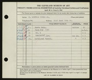 Entry card for Young, H. Linford, Jr. for the 1941 May Show.