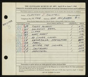 Entry card for Bachtel, Clayton J. for the 1942 May Show.