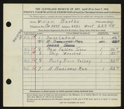 Entry card for Bartko, William for the 1942 May Show.