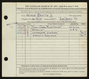 Entry card for Beattie, George for the 1942 May Show.