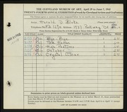 Entry card for Blake, Harold D. for the 1942 May Show.