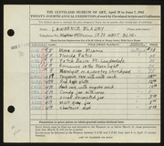 Entry card for Blazey, Lawrence for the 1942 May Show.