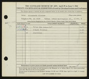 Entry card for Blosser, Elizabeth H. for the 1942 May Show.