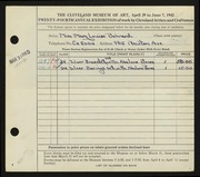 Entry card for Bohnard, Mary Louise for the 1942 May Show.