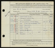 Entry card for Boyd, Mark Alexander, and Berg, Arthur W. for the 1942 May Show.