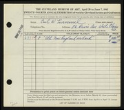 Entry card for Broemel, Carl William for the 1942 May Show.