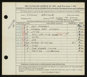 Entry card for Brucker, Edmund for the 1942 May Show.