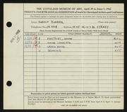 Entry card for Bundasz, Rudolph for the 1942 May Show.