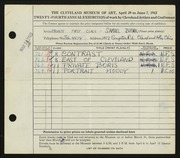 Entry card for Butnik, Samuel for the 1942 May Show.
