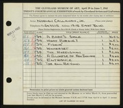 Entry card for Callahan, Norman, Jr. for the 1942 May Show.