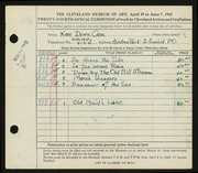 Entry card for Cass, Katherine Dorn for the 1942 May Show.