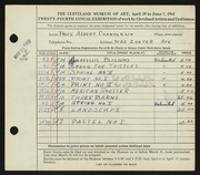 Entry card for Chamberlin, Price Albert for the 1942 May Show.
