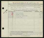 Entry card for Collins, Mary Susan for the 1942 May Show.