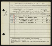Entry card for Combes, Herbert L. for the 1942 May Show.