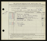Entry card for Combes, Willard Wetmore for the 1942 May Show.