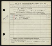 Entry card for Cook, Ruth E. for the 1942 May Show.