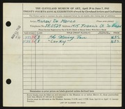 Entry card for De Marco, Michael for the 1942 May Show.