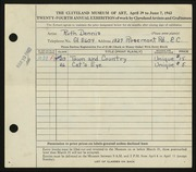 Entry card for Dennis, Ruth for the 1942 May Show.