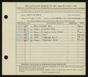 Entry card for Dyer, Nora E. for the 1942 May Show.