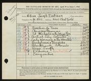 Entry card for Eastman, William Joseph for the 1942 May Show.