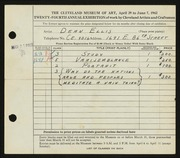 Entry card for Ellis, Dean W. for the 1942 May Show.
