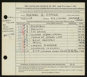 Entry card for Eppink, Norman Roland for the 1942 May Show.