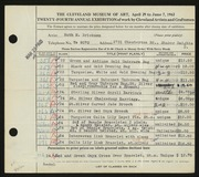 Entry card for Erickson, Ruth M. for the 1942 May Show.