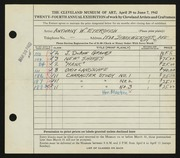 Entry card for Eterovich, Anthony William for the 1942 May Show.
