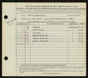 Entry card for Eysenbach, Carl W. for the 1942 May Show.