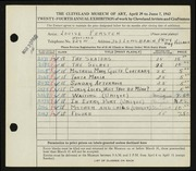 Entry card for Ferster, Louise for the 1942 May Show.