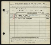 Entry card for Firth, Karl Warren for the 1942 May Show.