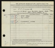 Entry card for Fischer, F. P. for the 1942 May Show.