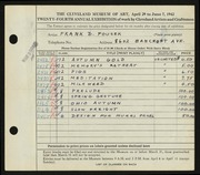Entry card for Fousek, Frank Daniel for the 1942 May Show.