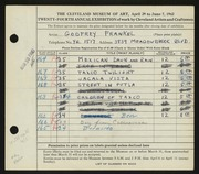 Entry card for Frankel, Godfrey B. for the 1942 May Show.