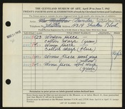 Entry card for Funder, Signe for the 1942 May Show.