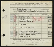 Entry card for Gaertner, Carl Frederick for the 1942 May Show.