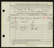 Entry card for Grauer, Natalie Eynon for the 1942 May Show.