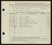 Entry card for Griffin, Sylvia for the 1942 May Show.