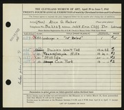 Entry card for Haber, Alice G. for the 1942 May Show.