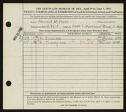 Entry card for Hahn, Harold Maxwell for the 1942 May Show.