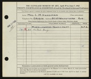Entry card for Hardiman, Laura M. for the 1942 May Show.