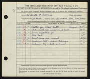 Entry card for Hartman, Eleanor P. for the 1942 May Show.