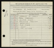 Entry card for Hazeltine, Dorothy R. for the 1942 May Show.