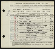 Entry card for Helmuth, Louis W., Sr. for the 1942 May Show.