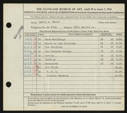 Entry card for Hewit, Mabel A. for the 1942 May Show.