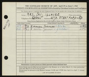 Entry card for Iglauer, Mrs. Jay for the 1942 May Show.