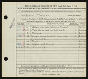 Entry card for Janicki, Hazel for the 1942 May Show.