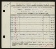 Entry card for Jeffery, Charles Bartley for the 1942 May Show.
