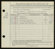 Entry card for Kingman, Alice E. for the 1942 May Show.